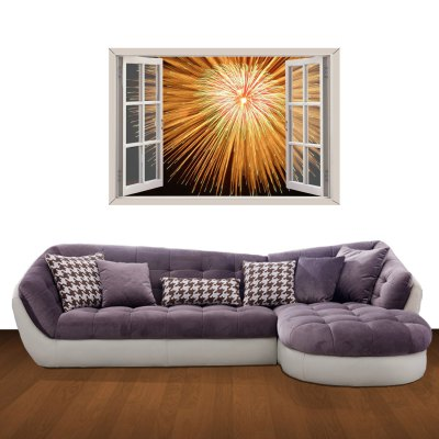 Гаджет   Gorgeous Firework Pattern Home Appliances Decoration 3D Wall Sticker Home Gadgets
