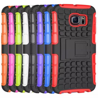 Фотография Stand Design TPU and PC Material Tire Pattern Protective Back Cover Case for Samsung Galaxy S6 G9200