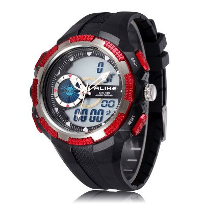 ALIKE Dual Time Display Alloy Case Silicone Strap Decoration One Stitch Men Sports Watch
