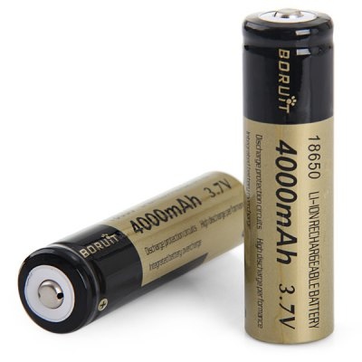 2 x Boruit 18650 4000mAh 3.7V Rechargeable Lithium - ion BatteryBatteries<br>2 x Boruit 18650 4000mAh 3.7V Rechargeable Lithium - ion Battery<br><br>Type: Battery<br>Battery Type: Lithium-ion<br>Battery  : 18650<br>Rechargeable: Yes<br>Protected: No<br>Voltage(V): 3.7V<br>Capacity: 4000mAh<br>Suitable for: Protable Games, Computers, Flashlight<br>Product weight: 0.081 kg<br>Package weight: 0.100 kg<br>Product size (L x W x H): 6.6 x 3.6 x 1.8 cm / 2.59 x 1.41 x 0.71 inches<br>Package size (L x W x H): 7 x 4 x 2 cm / 2.75 x 1.57 x 0.79 inches<br>Package Contents: 2 x Boruit 18650 Rechargeable Lithium-ion Battery