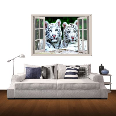 White Tiger Couples Style 3D Wall Sticker