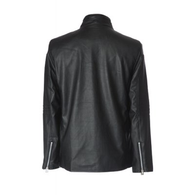 Гаджет   Stylish Stand Collar Slimming Oblique Zipper Covered Button Design Long Sleeve PU Leather Jacket For Men Jackets & Coats