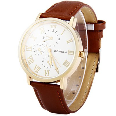 Comely 1106 Leather Strap Women Quartz Watch with Non - functioning Sub - dials