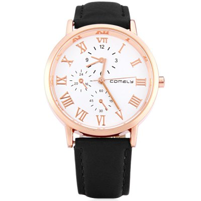 Фотография Comely 1106 Leather Strap Women Quartz Watch with Non - functioning Sub - dials