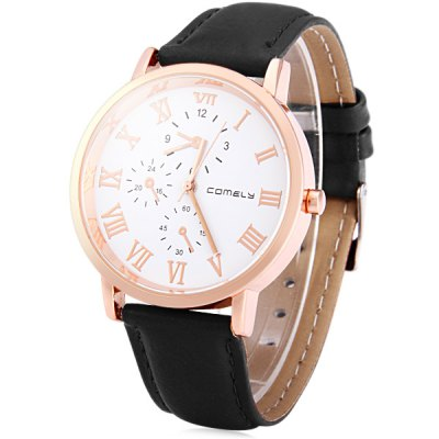 Гаджет   Comely 1106 Leather Strap Women Quartz Watch with Non - functioning Sub - dials Women
