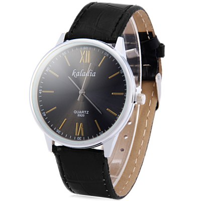 ФОТО Kaladia 8920A Unisex Quartz Watch with Leather Band Round Dial