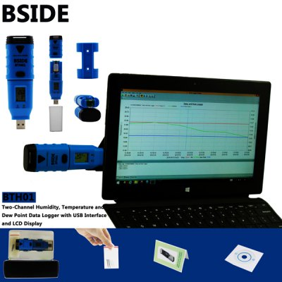 BSIDE BTH01 Temperature Humidity Dew Point Data Logger Dual Channel IP66 Water Resistant LCD DisplayTemperature Instruments<br>BSIDE BTH01 Temperature Humidity Dew Point Data Logger Dual Channel IP66 Water Resistant LCD Display<br><br>Brand: BSIDE<br>Model: BTH01<br>Material: ABS<br>Type: Measuring instruments<br>Temperature and humidity instrument: Temperature Humidity Dew Point Data Logger<br>Primary functions: Temperature Humidity Dew Point Data Logger<br>Features: LCD Display, USB Interface<br>Scope of application: Agricultural, Education, Home appliance<br>Product Weight: 0.058 kg<br>Package Weight: 0.22 kg<br>Product Size: 12.3 x 3.7 x 2.3 cm / 4.83 x 1.45 x 0.90 inches<br>Package Size: 16.5 x 10.5 x 5.0 cm / 6.48 x 4.13 x 1.97 inches<br>Package Contents: 1 x BSIDE BTH01 2-CH Temperature Humidity Dew Point Data Logger, 1 x CD Drive, 1 x 1/2 AA Battery, 1 x Holder, 2 x Screw, 1 x English User Manual