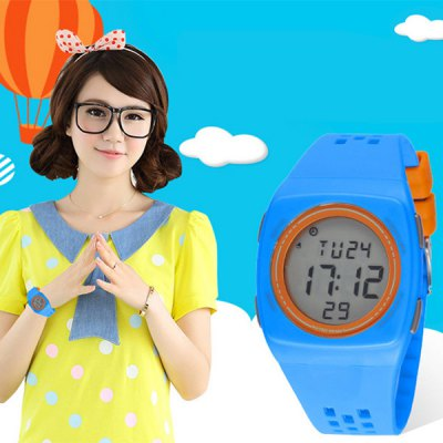Synoke LED Sports Watch Children WristwatchSports Watches<br>Synoke LED Sports Watch Children Wristwatch<br><br>Brand: Synoke<br>People: Children watch<br>Watch style: Fashion&amp;Casual, LED<br>Available color: Multi-Color, Black, Blue<br>Shape of the dial: Round<br>Movement type: Digital watch<br>Display type: Digital<br>Case material: PC<br>Band material: Rubber<br>Clasp type: Pin buckle<br>Special features: Day, Date, Alarm clock, EL Back-light<br>Water Resistance: 50 meters<br>The dial thickness: 1.2 cm / 0.47 inches<br>The dial diameter: 4.2 cm / 1.65 inches<br>Product weight: 0.041 kg<br>Package weight: 0.091 kg<br>Product size (L x W x H) : 25 x 4.2 x 1.2 cm / 9.83 x 1.65 x 0.47 inches<br>Package size (L x W x H): 26 x 5.2 x 2.2 cm / 10.22 x 2.04 x 0.86 inches<br>Package contents: 1 x Synoke Watch