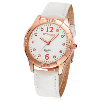 ФОТО Synoke 593A Analog Diamond Quartz Watch Leather Strap for Ladies