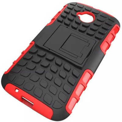 ФОТО Stand Design TPU and PC Material Tire Pattern Protective Back Cover Case for Motorola Moto E2