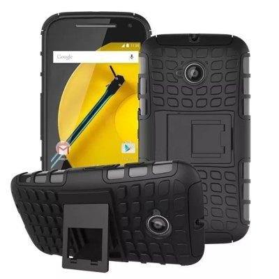 Stand Design TPU and PC Material Tire Pattern Protective Back Cover Case for Motorola Moto E2
