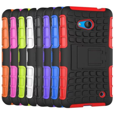 Stand Design TPU and PC Material Tire Pattern Protective Back Cover Case for Microsoft Lumia 640