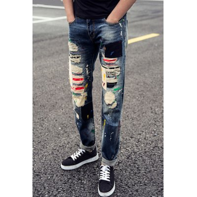 Гаджет   Trendy Zipper Fly Colorful Patch and Paint Dot Embellished Slimming Destroy Wash Straight Leg Men