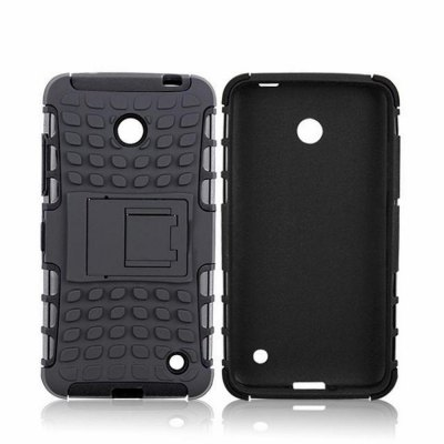 Stand Design TPU and PC Material Tire Pattern Protective Back Cover Case for Nokia Lumia 630