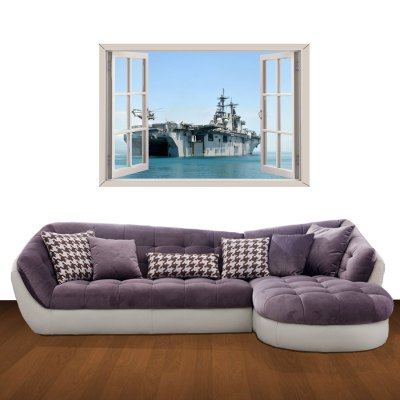 ФОТО Aircraft Carrier Pattern Home Appliances Decoration 3D Wall Sticker