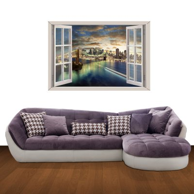 ФОТО 3D Wall Stickers Romantic City Style Wall Decals Home Appliances Decor