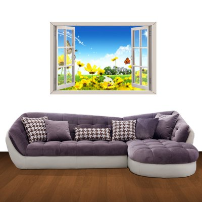 ФОТО Flowers and Butterflies Pattern Home Appliances Decoration 3D Wall Sticker