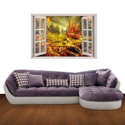 ФОТО Voyage in Fall Pattern Home Appliances Decoration 3D Wall Sticker