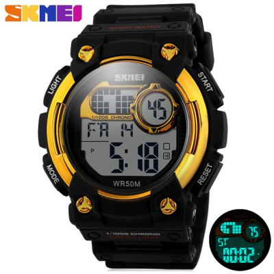 Skmei 1054 Army Military LED Watch Water Resistant for Outdoor SportsSports Watches<br>Skmei 1054 Army Military LED Watch Water Resistant for Outdoor Sports<br><br>Brand: Skmei<br>People: Unisex table<br>Watch style: Fashion&amp;Casual, Military, Outdoor Sports, LED<br>Available color: Red, Blue, Gold, Black<br>Shape of the dial: Round<br>Movement type: Digital watch<br>Display type: Digital<br>Case material: PC<br>Band material: Rubber<br>Clasp type: Pin buckle<br>Special features: EL Back-light, Alarm clock, Day, Date<br>Water Resistance: 50 meters<br>The dial thickness: 1.6 cm / 0.51 inches<br>The dial diameter: 4.8 cm / 1.89 inches<br>The band width: 2.2 cm / 0.87 inches<br>Product weight: 0.052 kg<br>Package weight: 0.102 kg<br>Product size (L x W x H) : 25.5 x 4.8 x 1.3 cm / 10.02 x 1.89 x 0.51 inches<br>Package size (L x W x H): 26.5 x 5.8 x 2.3 cm / 10.41 x 2.28 x 0.90 inches<br>Package contents: 1 x Skmei 1054 Watch