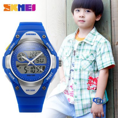 Гаджет   Skmei 1055 Dual Time LED Watch Water Resistant Day Date Alarm Children Wristwatch Sports Watches
