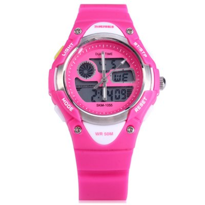 Фотография Skmei 1055 Dual Time LED Watch Water Resistant Day Date Alarm Children Wristwatch