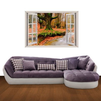 ФОТО Red Leaf Pattern Home Appliances Decoration 3D Wall Sticker