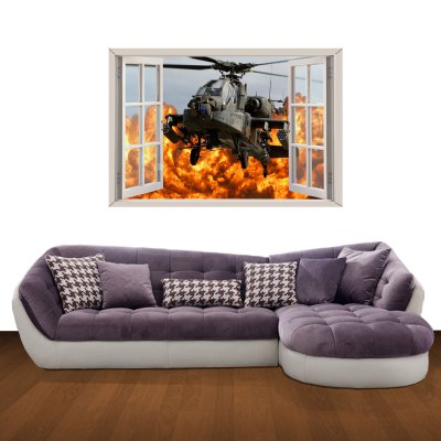 ФОТО Light Combat Helicopter Pattern Home Appliances Decoration 3D Wall Sticker