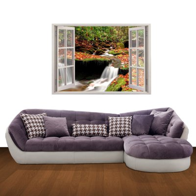 Фотография Mountain Stream in Fall Pattern Home Appliances Decoration 3D Wall Sticker