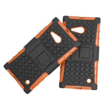Stand Design TPU and PC Material Tire Pattern Protective Back Cover Case for Nokia Lumia 730