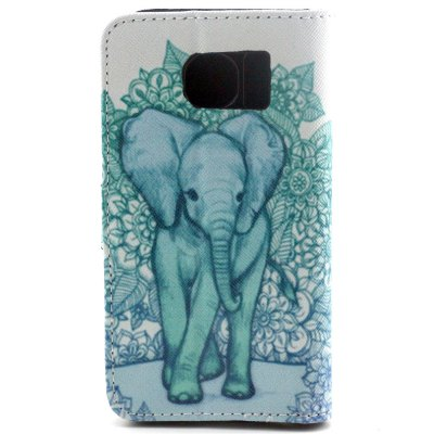 ФОТО Stand Design PU and PC Material Elephant Pattern Protective Cover Case for Samsung Galaxy S6 G9200