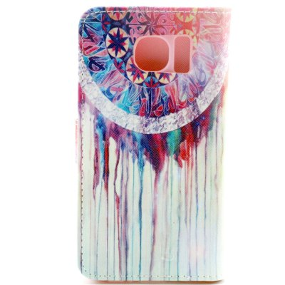 ФОТО Stand Design PU and PC Material Abstract Painting Pattern Protective Cover Case for Samsung Galaxy S6 G9200