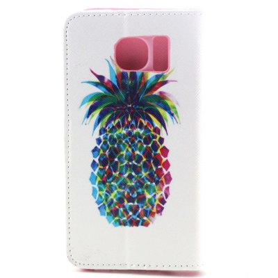 ФОТО Stand Design PU and PC Material Pineapple Pattern Protective Cover Case for Samsung Galaxy S6 G9200