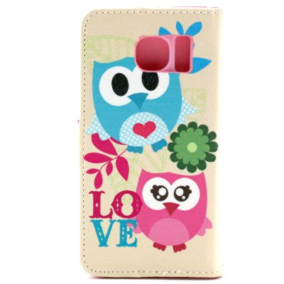 ФОТО Stand Design PU and PC Material Two Owls Pattern Protective Cover Case for Samsung Galaxy S6 G9200