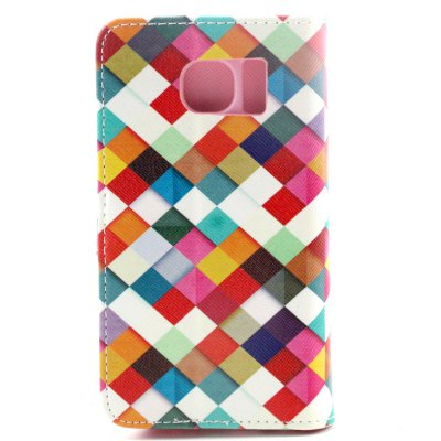 ФОТО Stand Design PU and PC Material Colorful Grid Pattern Protective Cover Case for Samsung Galaxy S6 G9200