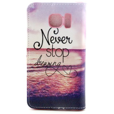 ФОТО Stand Design PU and PC Material Sea and Letter Pattern Protective Cover Case for Samsung Galaxy S6 G9200