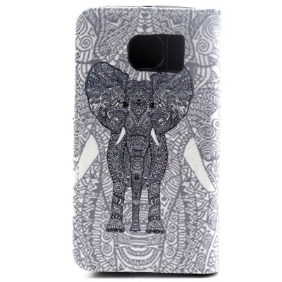 ФОТО Stand Design PU and PC Material Gray Elephant Pattern Protective Cover Case for Samsung Galaxy S6 G9200