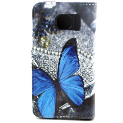 ФОТО Stand Design PU and PC Material Butterfly Pattern Protective Cover Case for Samsung Galaxy S6 G9200