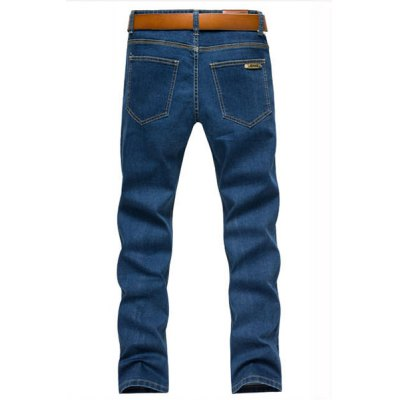 Гаджет   Laconic Zipper Fly Slimming Tag Embellished Bleach Wash Solid Color Narrow Feet Men