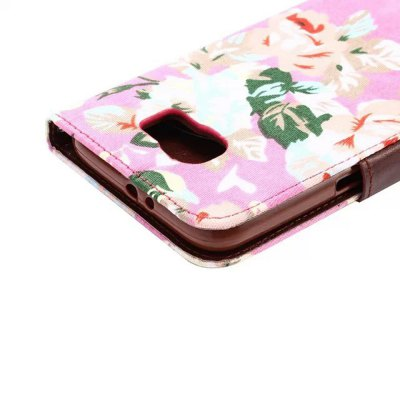 Фотография Stand Design PU and TPU Material Flower Pattern Protective Cover Case for Samsung Galaxy S6 G9200