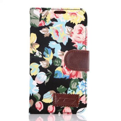 ФОТО Stand Design PU and TPU Material Flower Pattern Protective Cover Case for Samsung Galaxy S6 G9200