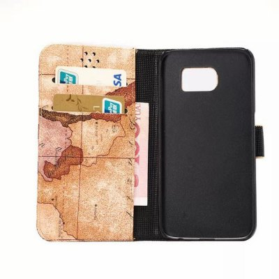 Фотография Stand Design PU and PC Material Map Pattern Protective Cover Case for Samsung Galaxy S6 G9200