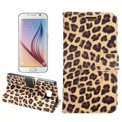 PU and PC Material Leopard Print Pattern Protective Cover Case for Samsung Galaxy S6 G9200