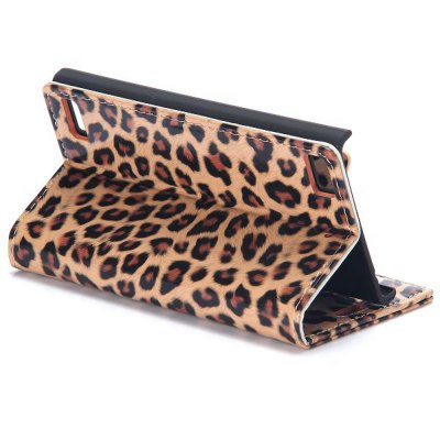 Фотография Stand Design Leopard Print Pattern Protective Cover Case of PU and PC Material for BlackBerry Z3