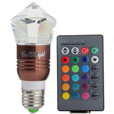 Фотография YouOKLight E27 3W Remote Controlled RGB Diamond Bulb Lamp