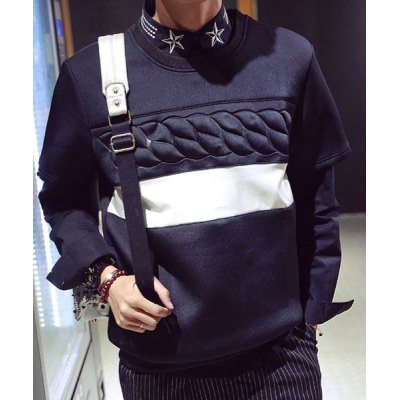 Гаджет   Fashion Knurling Design Round Neck Slimming PU Leather Splicing Short Sleeves Men