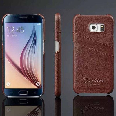 Genuine Leather and PC Material Back Cover Case for Samsung Galaxy S6 G9200