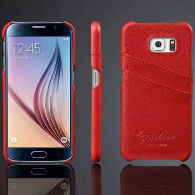 Фотография Practical Genuine Leather and PC Material Card Holder Protective Back Cover Case for Samsung Galaxy S6 G9200