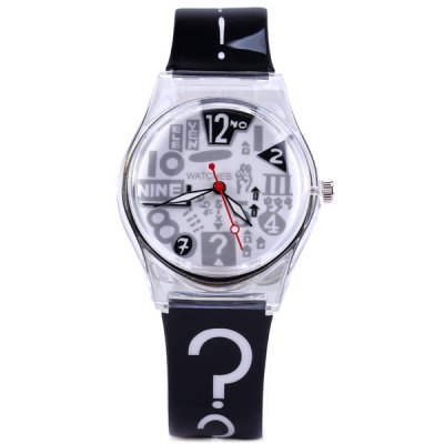 Environmentally Friendly Rubber Band Female Question Mark Quartz Watch