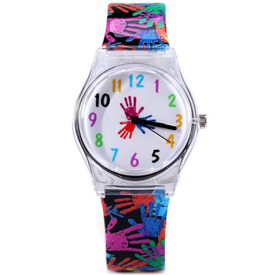 Women Handprint Pattern Wristwatch Eco - friendly Analog Quartz Watch