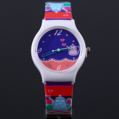 Women Kettle Pattern Wristwatch Eco - friendly Analog Quartz Watch